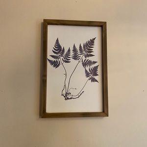 Botanical wood framed fern minimal wall art